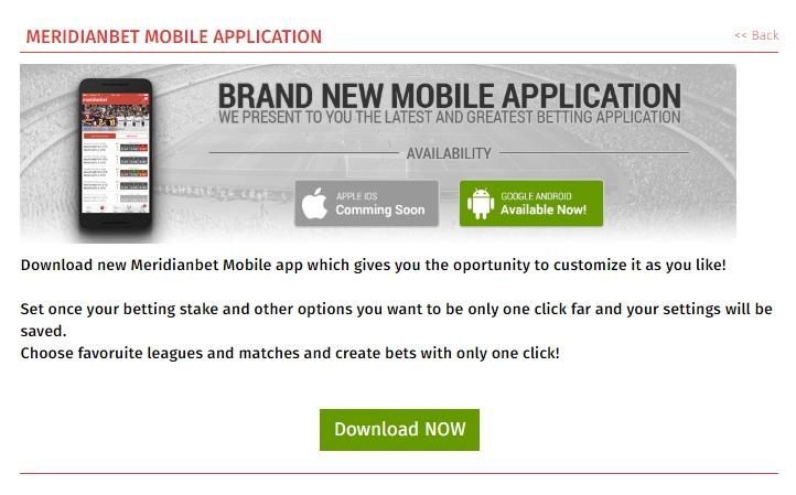 Meridianbet old version app